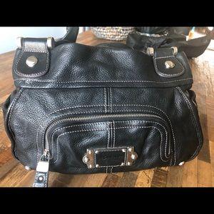B.Makowsky Black Leather Hobo Bag